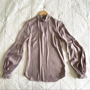 H&M Mauve Puff Sleeve Blouse with Stand Up Collar